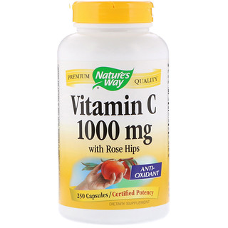 Nature's Way, Vitamina C com Rosa Mosqueta, 1.000 mg, 250 Cápsulas