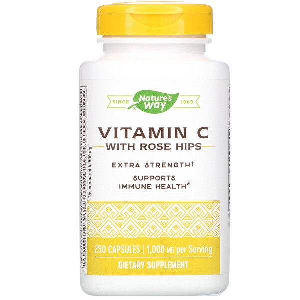 Vitamin C with Rose Hips, Extra Strength, 1,000 mg, 250 Capsules