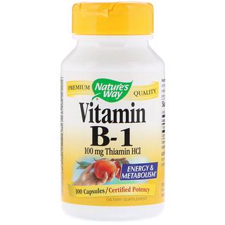 Nature's Way, 비타민 B-1, 100 mg 티아민 HCI, 100 캡슐