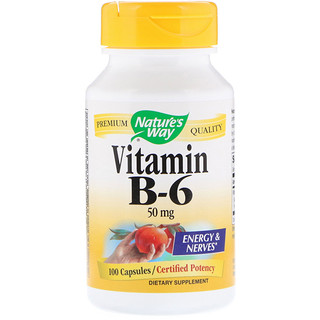 Nature's Way, Vitamin B-6, 50 mg, 100 Capsules