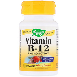 Nature's Way, Vitamin B-12, Cherry Flavored, 2,000 mcg, 100 Lozenges