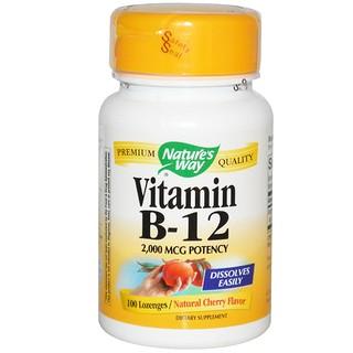 Nature's Way, Vitamin B-12, Natural Cherry Flavor, 2,000 mcg, 100 Lozenges