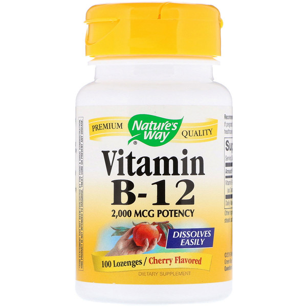 Vitamin B-12, Cherry Flavored, 2,000 mcg, 100 Lozenges
