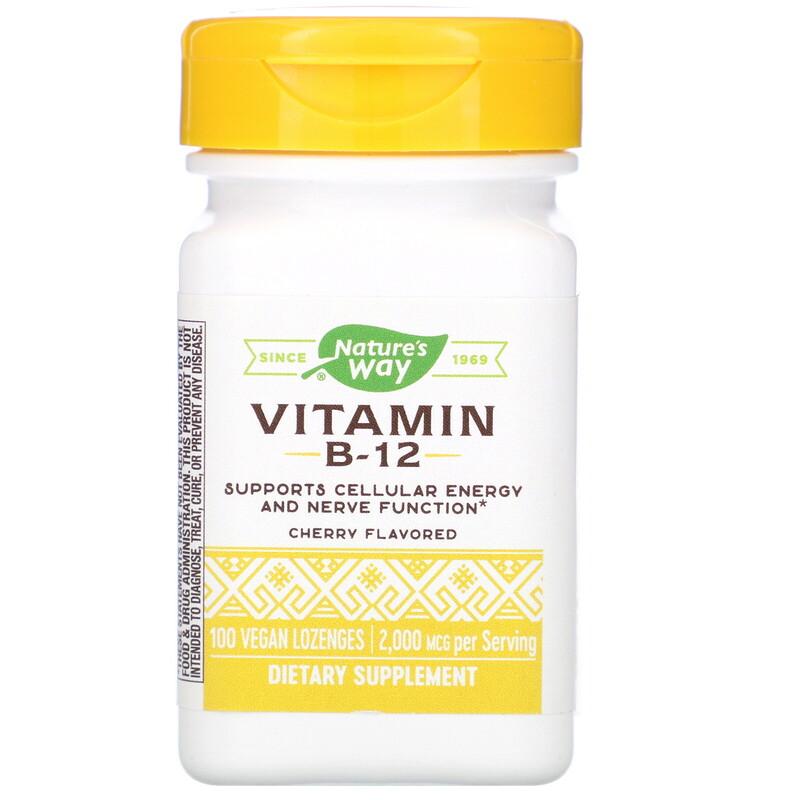 Vitamin B-12, Cherry Flavored, 2,000 mcg, 100 Vegan Lozenges