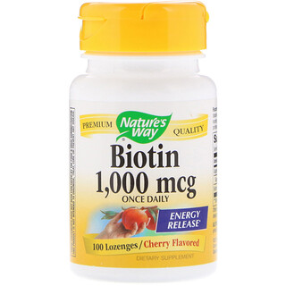 Nature's Way, Biotin, Cherry Flavored, 1,000 mcg, 100 Lozenges
