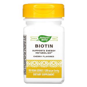 Натурес Вэй, Biotin, Cherry Flavored, 1,000 mcg, 100 Vegan Lozenges отзывы покупателей