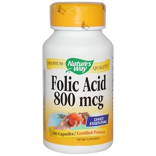 Nature's Way, Folic Acid, 800 mcg, 100 Capsules