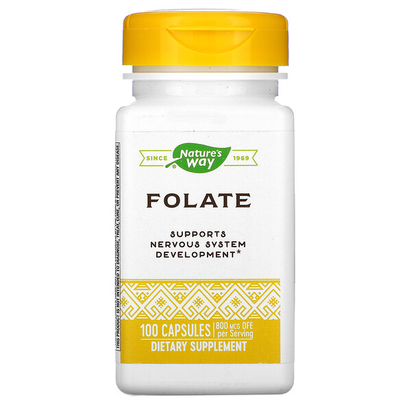 Nature's Way, Folate , 800 mcg, 100 Capsules