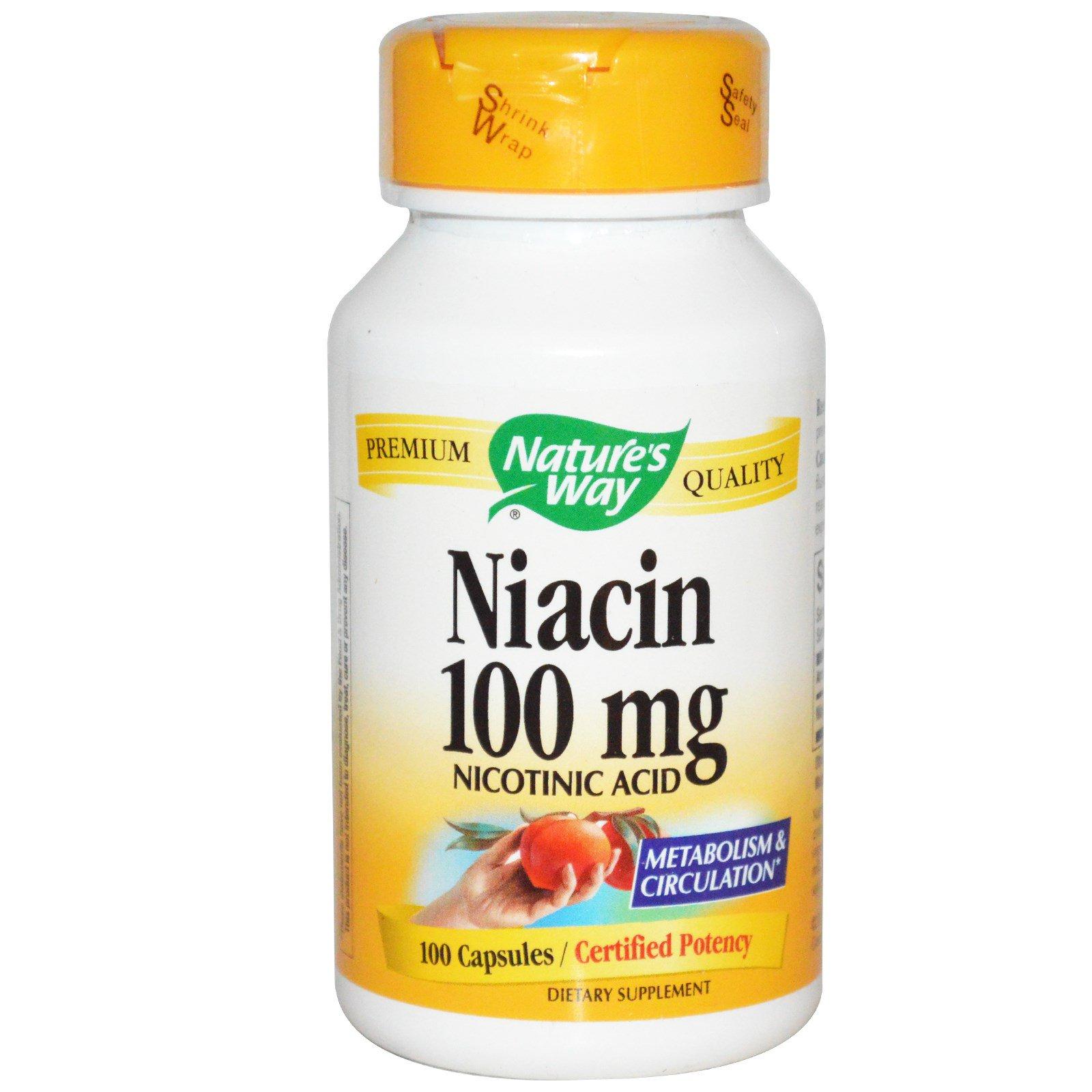 Nature's Way, Ниацин 100 мг, Никотиновая кислота, 100 капсул