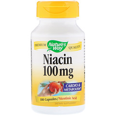 Nature's Way, 니아신 100 mg, 니코틴산, 100 캡슐