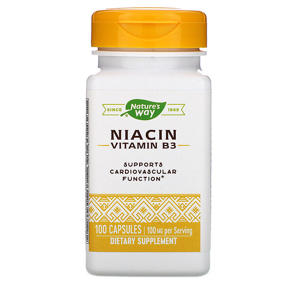 Nature's Way, Niacin, Vitamin B3, 100 mg, 100 Capsules