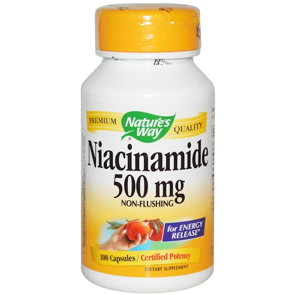 Nature's Way, Niacinamida, 500 mg, 100 cápsulas