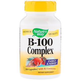 Nature's Way, B-100 컴플렉스, B2 코엔자임 첨가, 100 캡슐