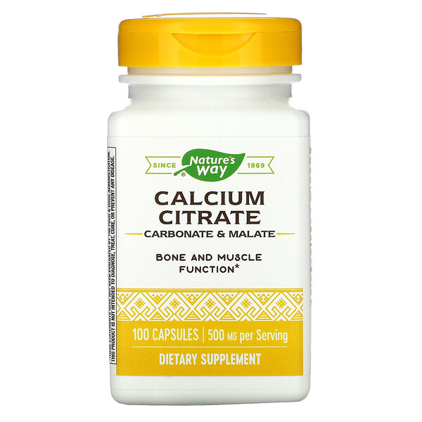 Calcium Citrate, 500 mg, 100 Capsules