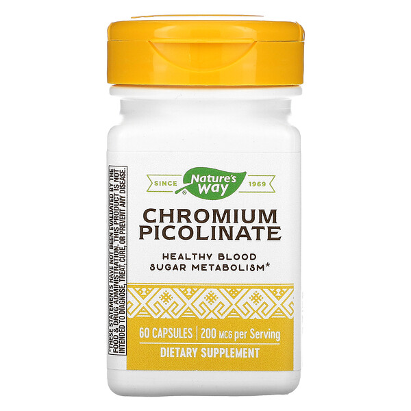 Chromium Picolinated, 200 mcg, 60 Capsules