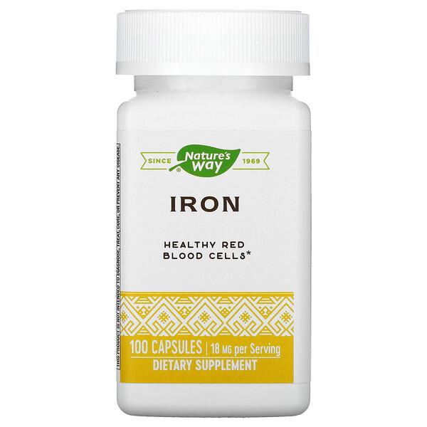 Iron, 18 mg, 100 Capsules