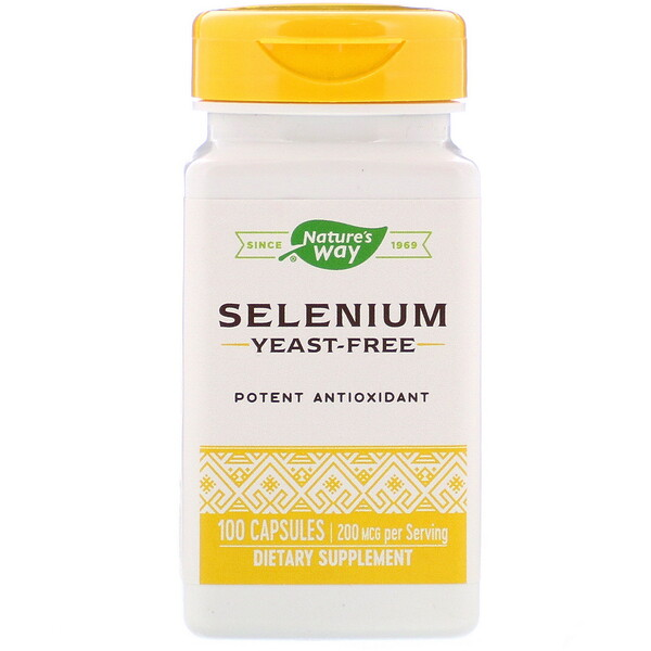Nature's Way, Selênio, 200 mcg, 100 Cápsulas