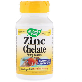 Nature's Way, Zinc Chelate, 30 mg, 100 Capsules