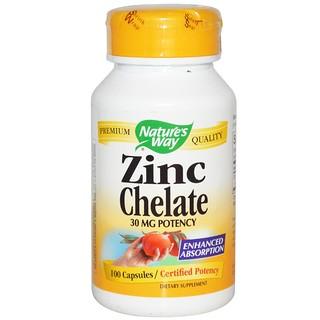Nature's Way, 아연 킬레이트(Zinc Chelate), 30 mg, 100 캡슐
