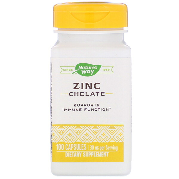 Nature's Way, Bisglicinato de Zinco, 30 mg, 100 Cápsulas