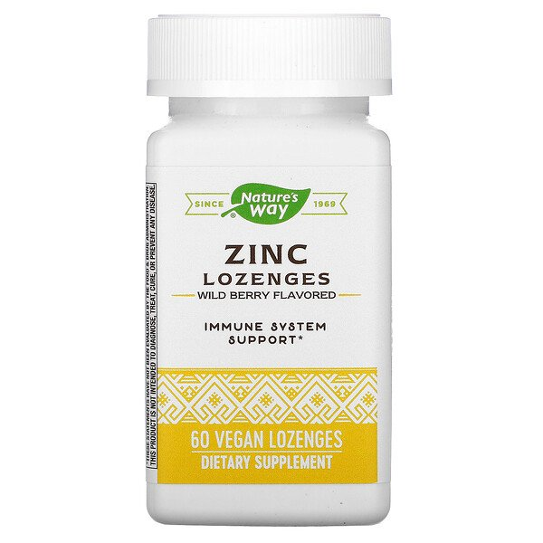Nature's Way, Zinc Lozenges, Wild Berry Flavored, 60 Vegan Lozenges