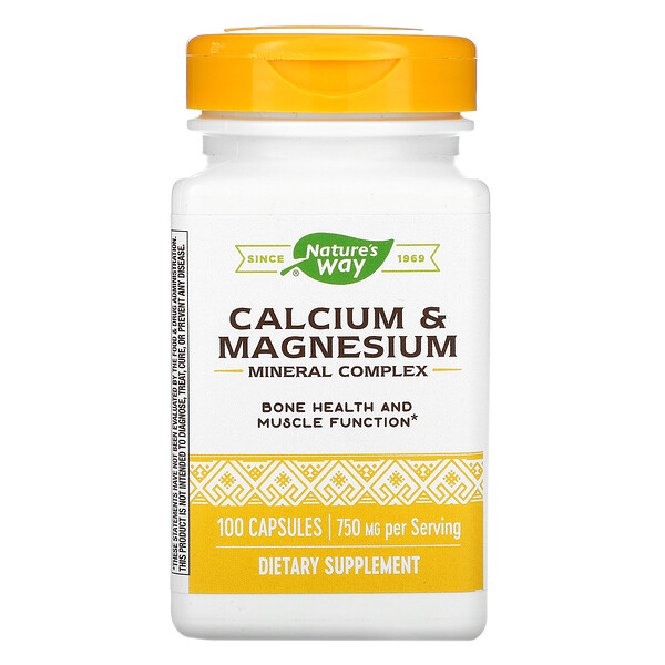 Nature's Way, Calcium & Magnesium Mineral Complex, 750 mg, 100 Capsules