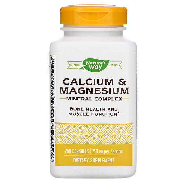 Nature's Way, Calcium & Magnesium Mineral Complex, 750 mg, 250 Capsules