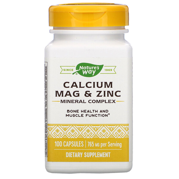 Nature's Way, Calcium Mag & Zinc Mineral Complex, 765 mg, 100 Capsules