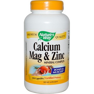 Nature's Way, 칼슘, 마그 & 아연, 미네랄 복합, 250 캡슐