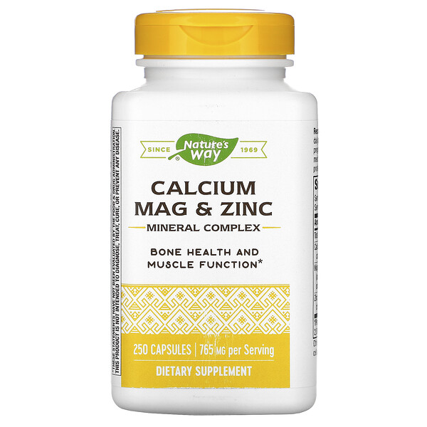Nature's Way, Calcium, Mag & Zinc, Mineral Complex, 765  mg, 250 Capsules
