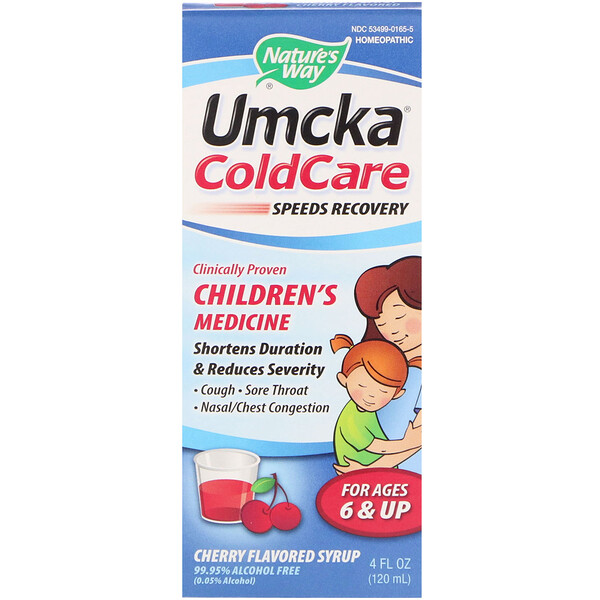 Nature's Way, Umcka, ColdCare, Syrup, For Ages 6 & Up, Cherry Flavored, 4 fl oz (120 ml)