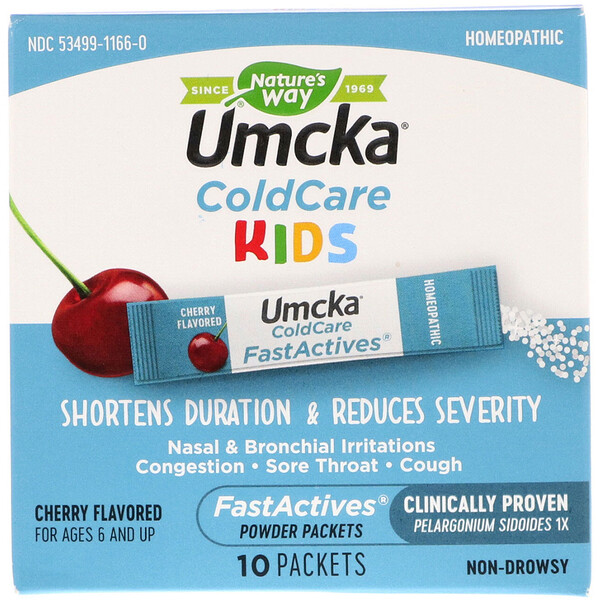 Umcka, ColdCare Kids, FastActives, For Ages 6 and Up,  Cherry Flavored, , 10 Powder Packets
