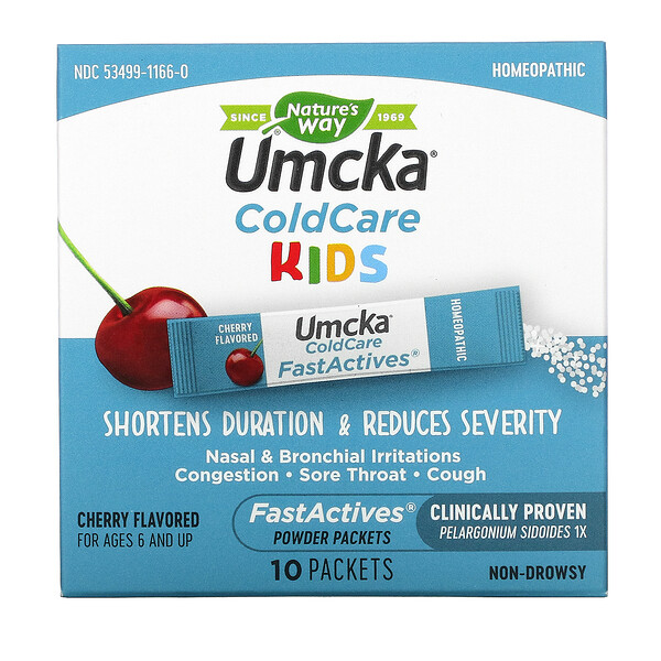Umcka, ColdCare Kids, FastActives, For Ages 6 and Up,  Cherry, 10 Powder Packets