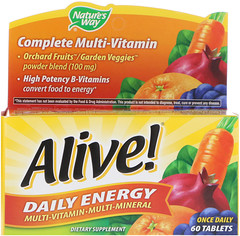Nature's Way, Alive!, Daily Energy, Multivitamin-Multimineral, 60 Tablets
