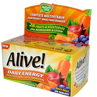 Nature's Way, Alive!, Daily Energy, 60 Tablets