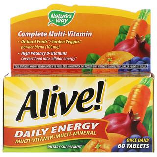 Nature's Way, Alive!، الطاقة اليومية، متعدد الفيتامينات والمعادن، 60 قرصًا