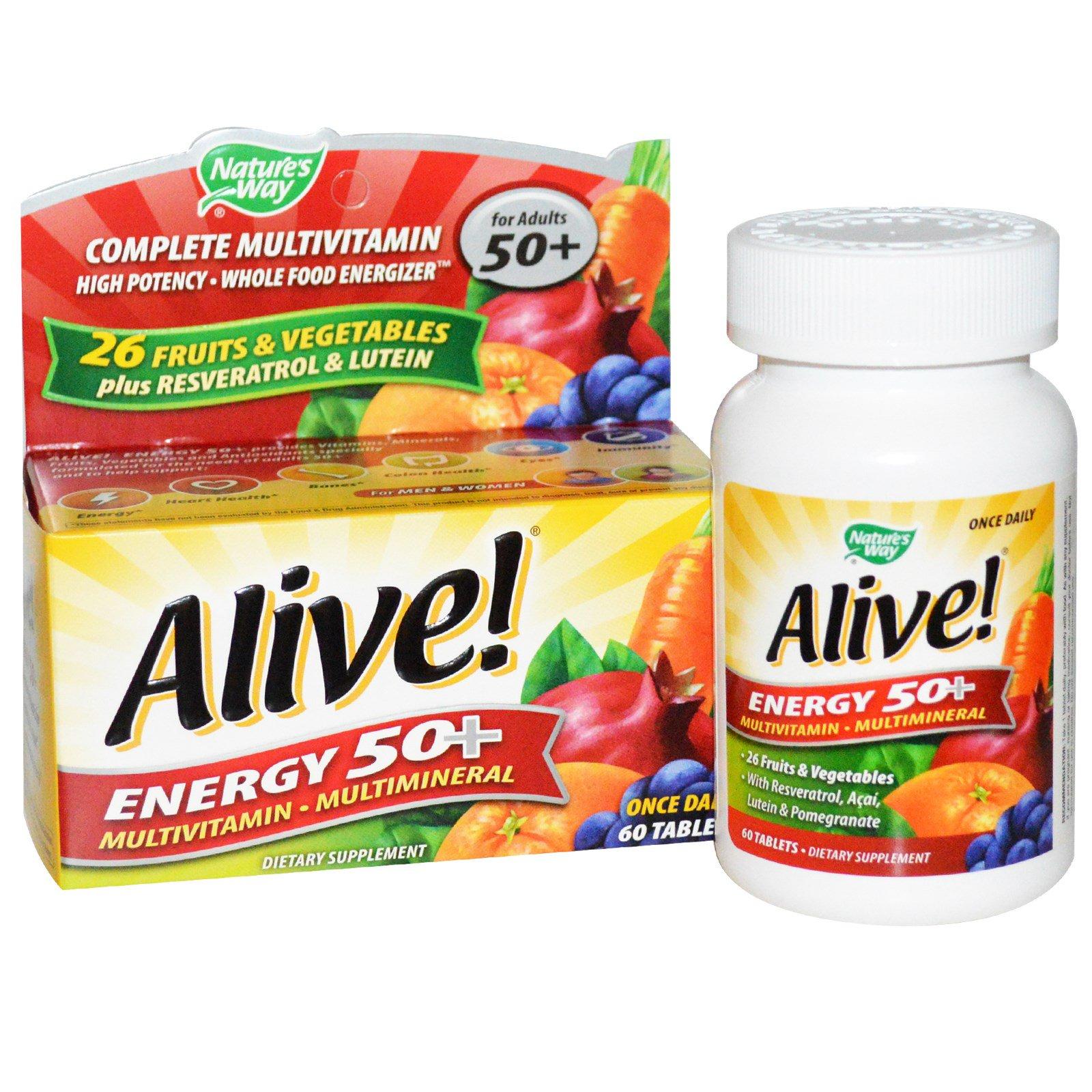 Nature's Way, Живая энергия 50+, мультивитаминный-Мультиминерал, Для взрослых 50+, 60 Tablets
