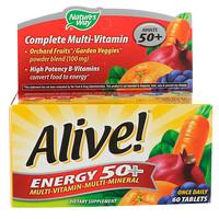 Живая энергия 50+, мультивитаминный-Мультиминерал, Для взрослых 50+, 60 Tablets - фото