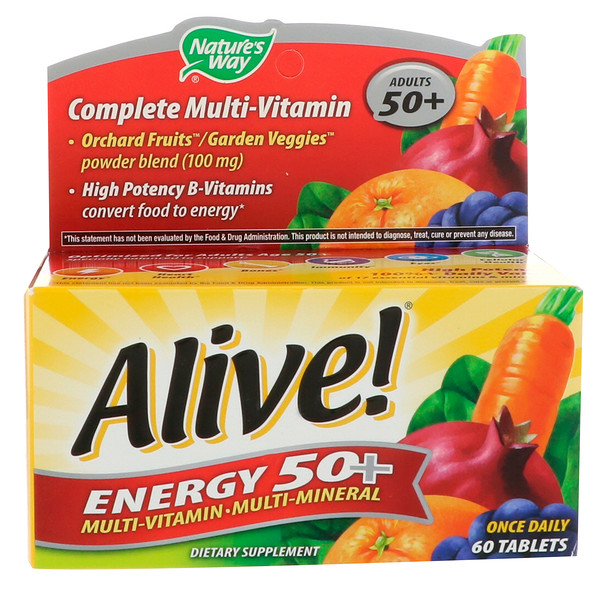 Alive! Energy 50+, Multivitamin-Multimineral, Adults 50+, 60 Tablets