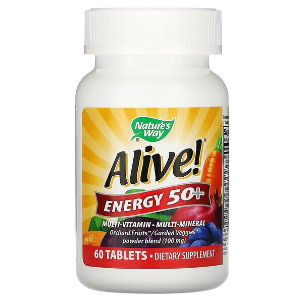 Nature's Way, Alive! Energy 50+, комплекс витаминов и микроэлементов для взрослых старше 50лет, 60таблеток