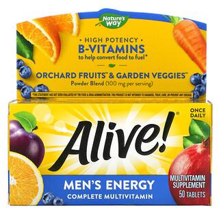 Nature's Way, Alive! для мужчин, комплекс мультивитаминов и мультиминералов для пополнения запаса энергии, 50таблеток