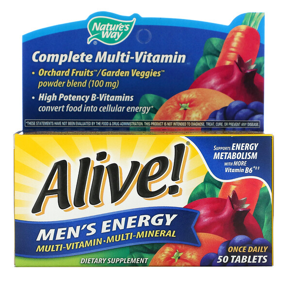 Alive! Men's Energy, Multivitamin-Multimineral, 50 Tablets