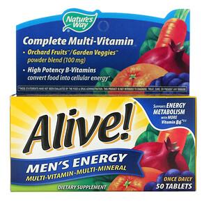 Натурес Вэй, Alive! Men's Energy, Multivitamin-Multimineral, 50 Tablets отзывы покупателей