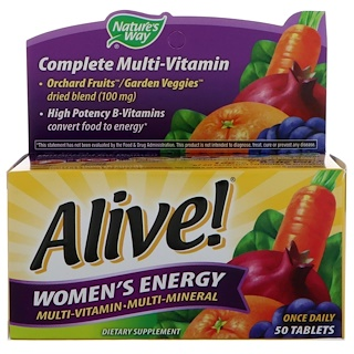 Nature's Way, Alive! Women's Energy, Multivitamin-Multimineral, 50 Tablets