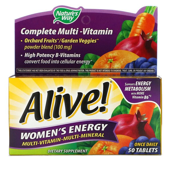 Nature's Way, Alive! Women's Energy, Multi-vitamin-Multi-mineral, 50 Tablets