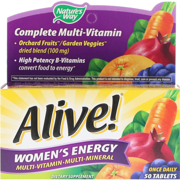 Nature's Way, Alive! Women's Energy, Multivitamínico - Multimineral para Mujeres, 50 Comprimidos