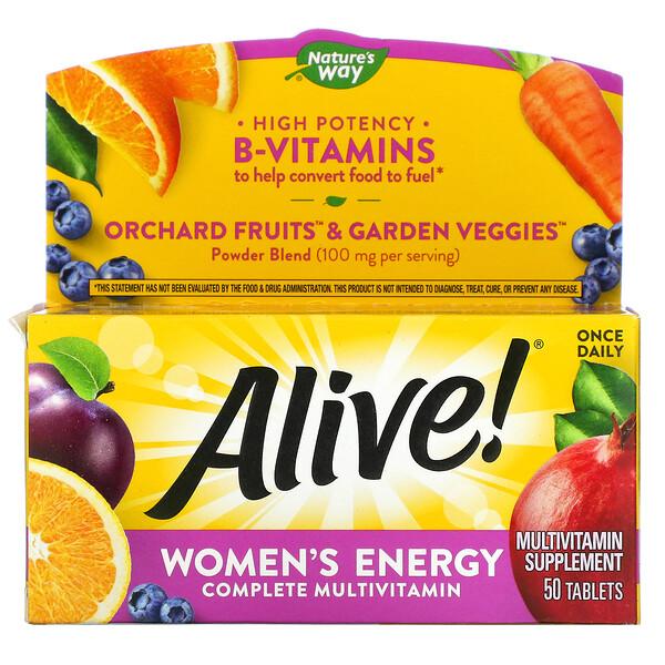 Nature's Way, Alive! Women'sEnergy, комплекс витаминов и микроэлементов для женщин, 50таблеток