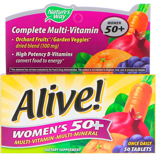 Nature's Way, Alive! Women's 50+ Complete Multi-Vitamin, 50 Tablets