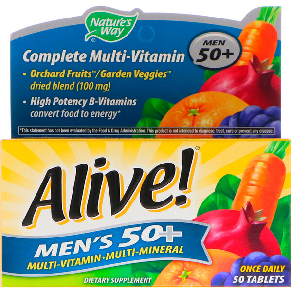 Alive! Men's 50+ Complete Multi-Vitamin, 50 Tablets