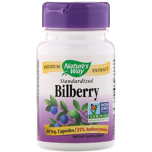 Nature's Way, Bilberry Standardized, 60 Veg Capsules
